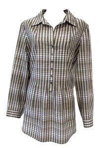 Lafayette 148 New York Plaid Casual Buttons Tunic Top Gray/White