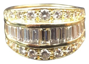 Other 18Kt Baguette & Round Diamond WIDE Yellow Gold Jewelry Ring 2.50Ct