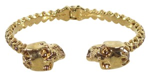 Alexander McQueen Brass Gold Hinged Crystal Twin Skull Bangle Bracelet