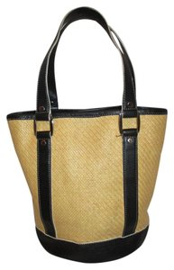 Talbots Leather Straw Tote in black and beige