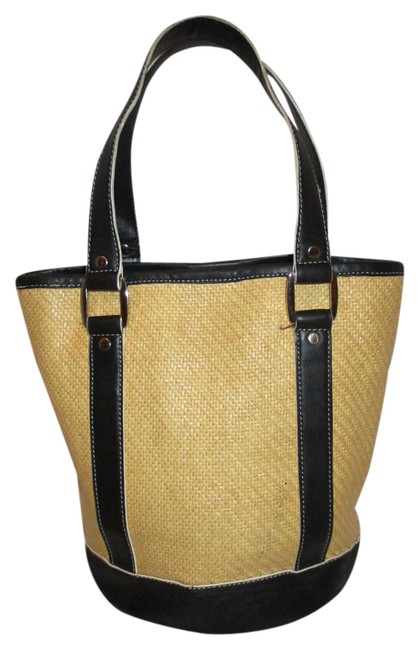 Item - Small Black and Beige Straw with Leather Trim Tote