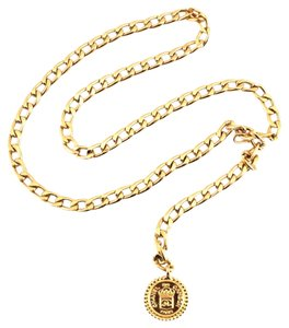 Chanel #11100 CC long chain gold necklace belt two way