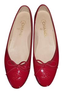 Chanel Patent Patent Leather Ballerina Ballerine Red Flats