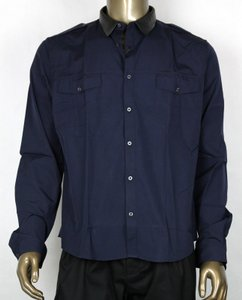 Gucci Dark Blue Shirt W/leather Collar Standard Cuff 43/17 363954 4324
