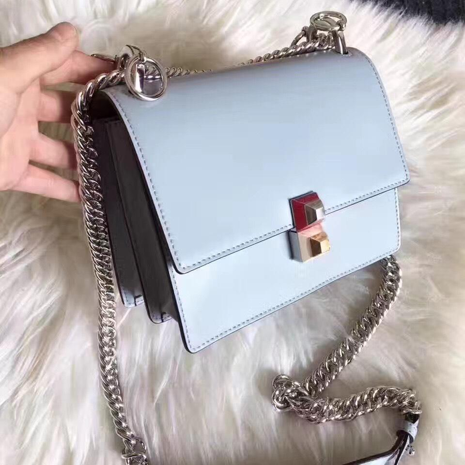a128e3dd Fendi Chain Kan I Small Mini Slate Grey Leather Cross Body Bag