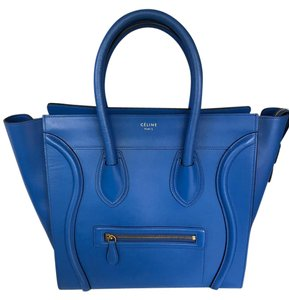 Céline Leather Blue Smooth Calfskin Electric Tote in Electric Blue
