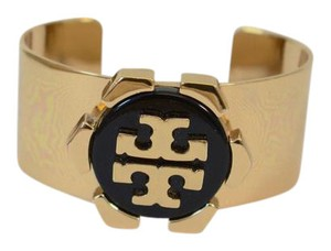 Tory Burch TORY BURCH GOLD POLISHED CUFF WITH BLACK COLOR DETAIL DOUBLE T LOGO NT