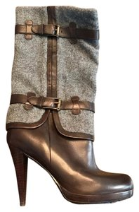Cole Haan Nike Air Leather Wool Buckles Brown and Grey Boots