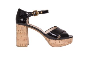 Prada Cork Patent Platform Black Sandals