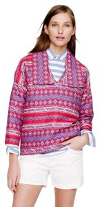 J.Crew Popover Embroidered Vacation Patterned Red Jacket