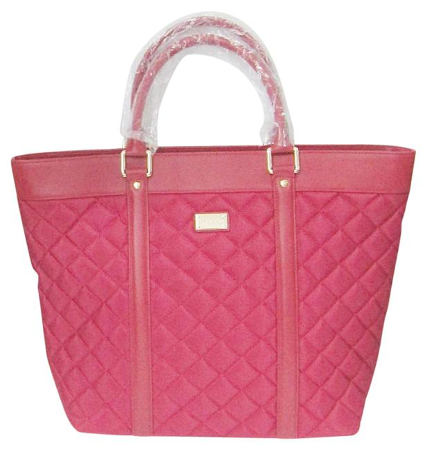 Item - New Quilted Diamond Leather Travel Shopper Red Nylon Tote