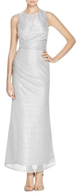 Item - Silver Metallic Cutout Gown Long Formal Dress Size 6 (S)