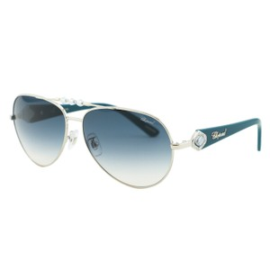 Chopard New Chopard SCH 997S Silver Metal Rim Blue Crystal Aviators Sunglasses