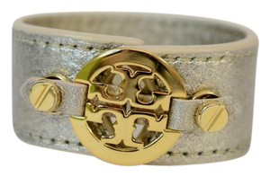 Tory Burch TORY BURCH GOLD LEATHER BRASS TONE TWO SNAP CLOSURE BRACELET NT