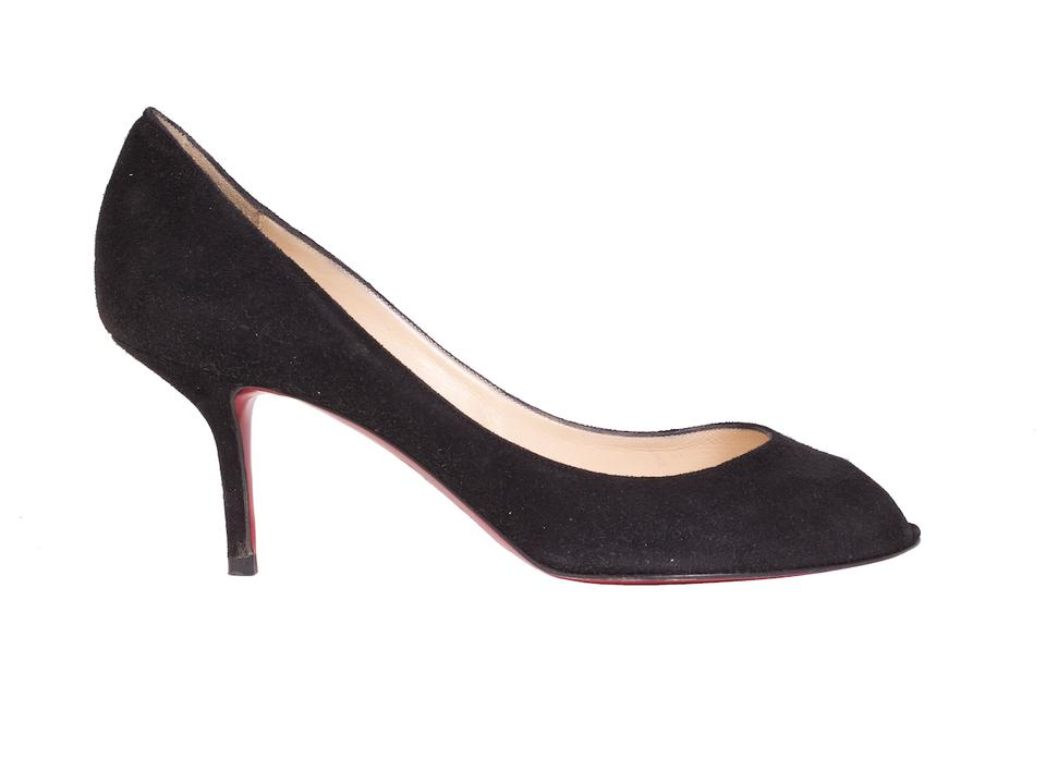 low priced 20f49 dab3b Christian Louboutin Black Suede Kitten Heels with Peep Toe Pumps Size US 8.5