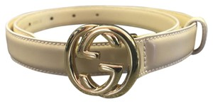 Gucci Interlocking G Nude Leather Skinny Belt