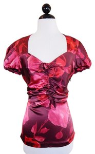 Blumarine Silk Stretchy Ruched Floral Top Pink Plum Multi-Color
