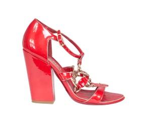 Chanel Chain Patent Red Sandals