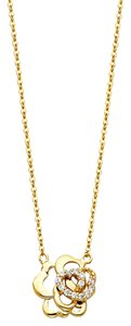 Top Gold & Diamond Jewelry 14K Yellow Gold CZ Necklace - 17+1