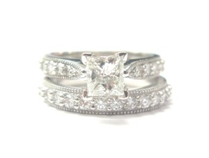 Other Fine Princess Cut Diamond Engagement Solitaire with Accent Wedding Set