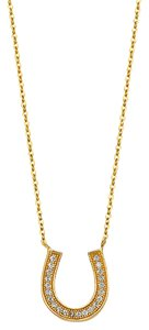 Top Gold & Diamond Jewelry 14K Pave CZ Lucky Horseshoe Necklace - - Top Gold & Diamond Jewelry