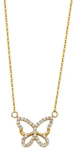Top Gold & Diamond Jewelry 14K Yellow Gold Pave CZ Open Necklace - Top Gold & Diamond Jewelry