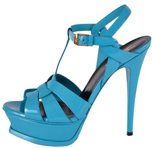 Saint Laurent Ysl Platform Blue Turquoise Sandals