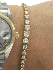 Other Fine Round Cut Diamond Graduated 3-Prong Yellow Gold Tennis Bracelet 3