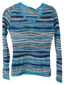 Missoni Sport Blue Long Sleeve T Shirt Multicolor, blue/teal/white/yellow orange