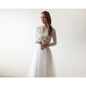 Ivory Maxi Tulle Dress With Long Sleeves Wedding Dress