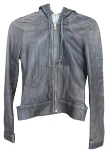 Mike & Chris & Leather Hooded Gray Leather Jacket
