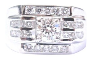 Other 18Kt Mens Round Solitaire With Channel Accents White Gold Ring 1.00CT