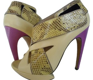Nicholas Kirkwood Runway Sandals Python Lizard Multi Color Platforms