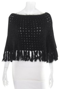 Burberry London Beaded Fuzzy Poncho Cropped Poncho Sweater