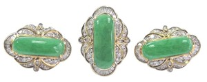 Other 18Kt Jade & Diamond Yellow Gold Jewelry Set Ring & Earrings 8.00Ct