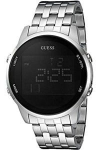 Guess U0786G1 Men's Silver Steel Bracelet With Black Digital Dial Watch