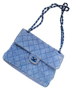 Chanel Striped Quilted Denim Cobalt Vintage Shoulder Bag