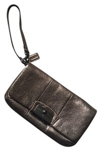 Coach Leather Wristlet in Bronze