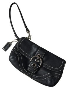 Coach Silver Hardware Wristlet in Black