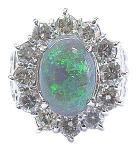 Other Fine Black Opal & Diamond White Gold Jewelry Ring 14Kt 5.60Ct