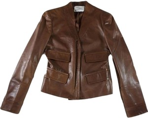 Saint Laurent Yves Fitted Leather Brown Leather Jacket