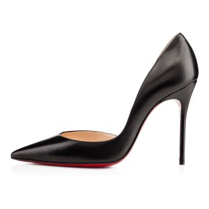 Christian Louboutin Leather Loubotins Red Bottoms Black Pumps