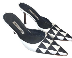 Manolo Blahnik Black & White Mules