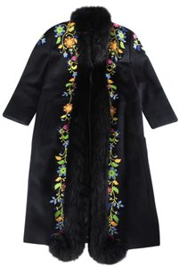 Escada Fox Fur Embroidered Vintage Fur Coat