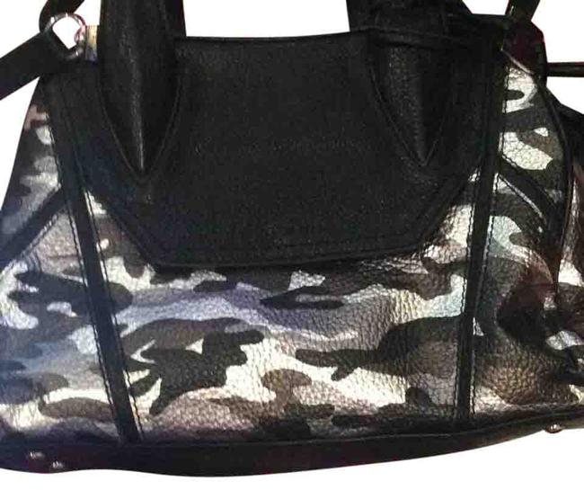 Item - Madison Black with Metallic Silver Bronze Dark Silver and Black Camouflage Leather Satchel