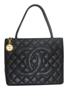 Chanel Cavier Gold Medallion Tote in Black