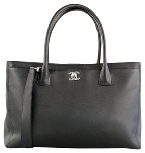 Chanel Cerf Silver Hardware Tote in Black