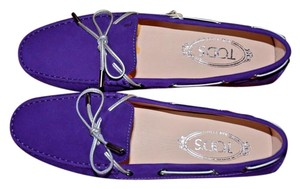 Tod's Mocassino Loafers Made In Italy Purple Flats