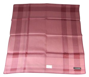 Burberry Dark Pink Herringbone Check, 100% Silk, Scarf Foulard
