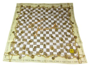 Fendi fazzvolo - Yellow/Gold, Fendi Logo, 100% Silk, Scarf Foulard
